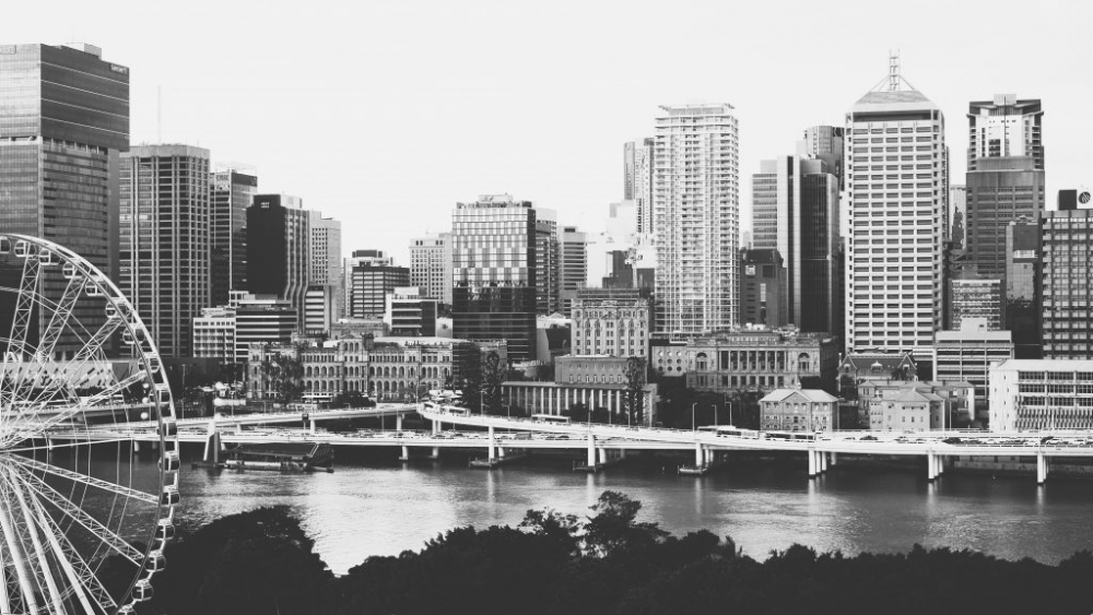 Brisbane city skyline in black and white