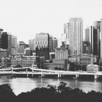 Brisbane city skyline in black and white