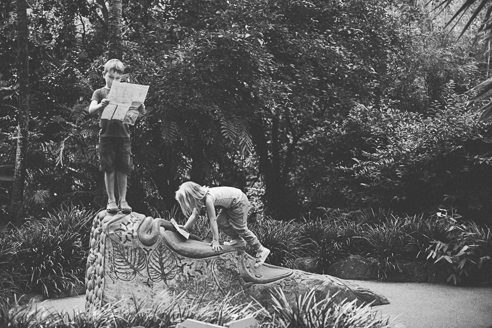 Children climbing on rock with map