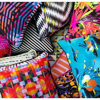 Briony Masters for Neon Vintage Candy Riot cushion collection