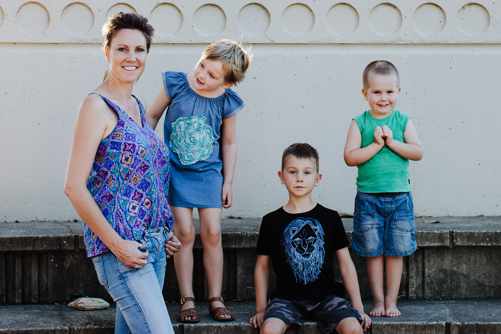 portrait of mum with young kids