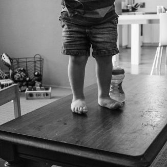 Toddler feet on the table