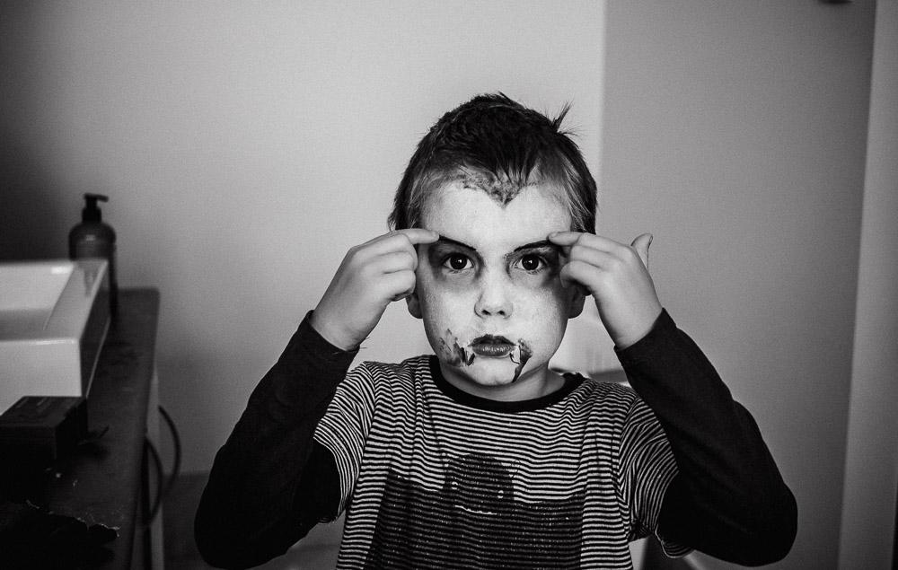 Dracula boy halloween face paint